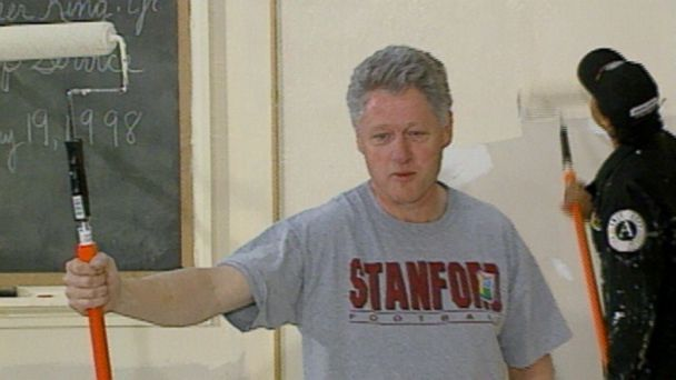 VIDEO: President Clinton paints classroom walls during a 1998 visit to Cardozo High School in Washington, D.C.