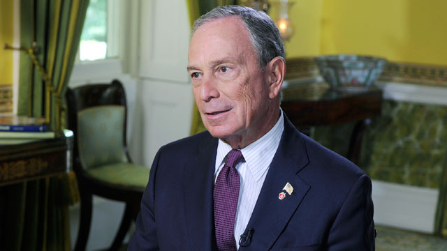 PHOTO: This Week anchor Christiane Amanpour speaks with New York City Mayor Michael Bloomberg.