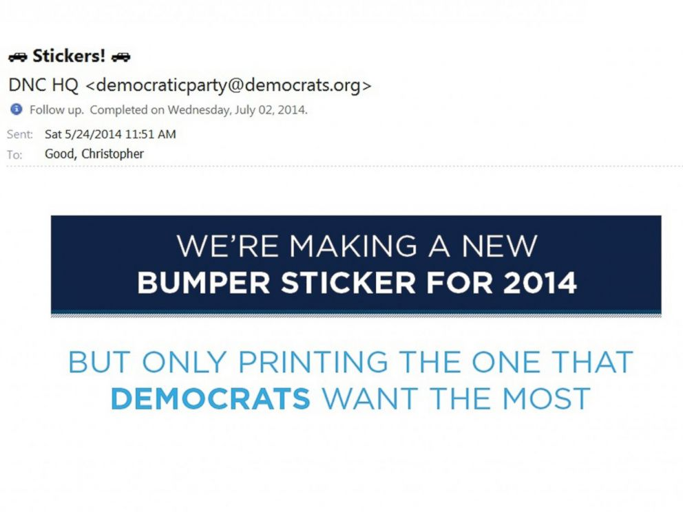 PHOTO: Stickers! the Democratic Party notified its supporters on May 24