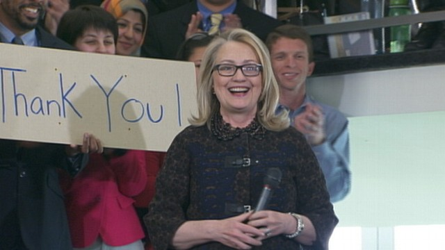 VIDEO: Outgoing secretary of state makes her final speech to room full of State Department employees.
