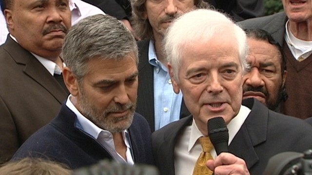 VIDEO: George Clooney and Nick Clooney are arrested during protest at Sudanese embassy in Washington.