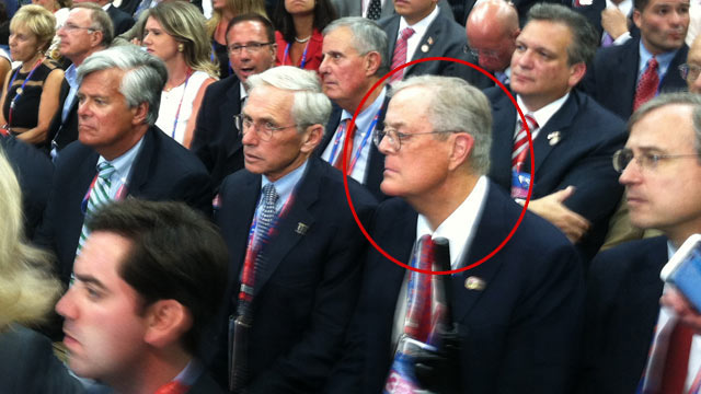 PHOTO: David Koch sits with the New York delegation at the RNC in Tampa.