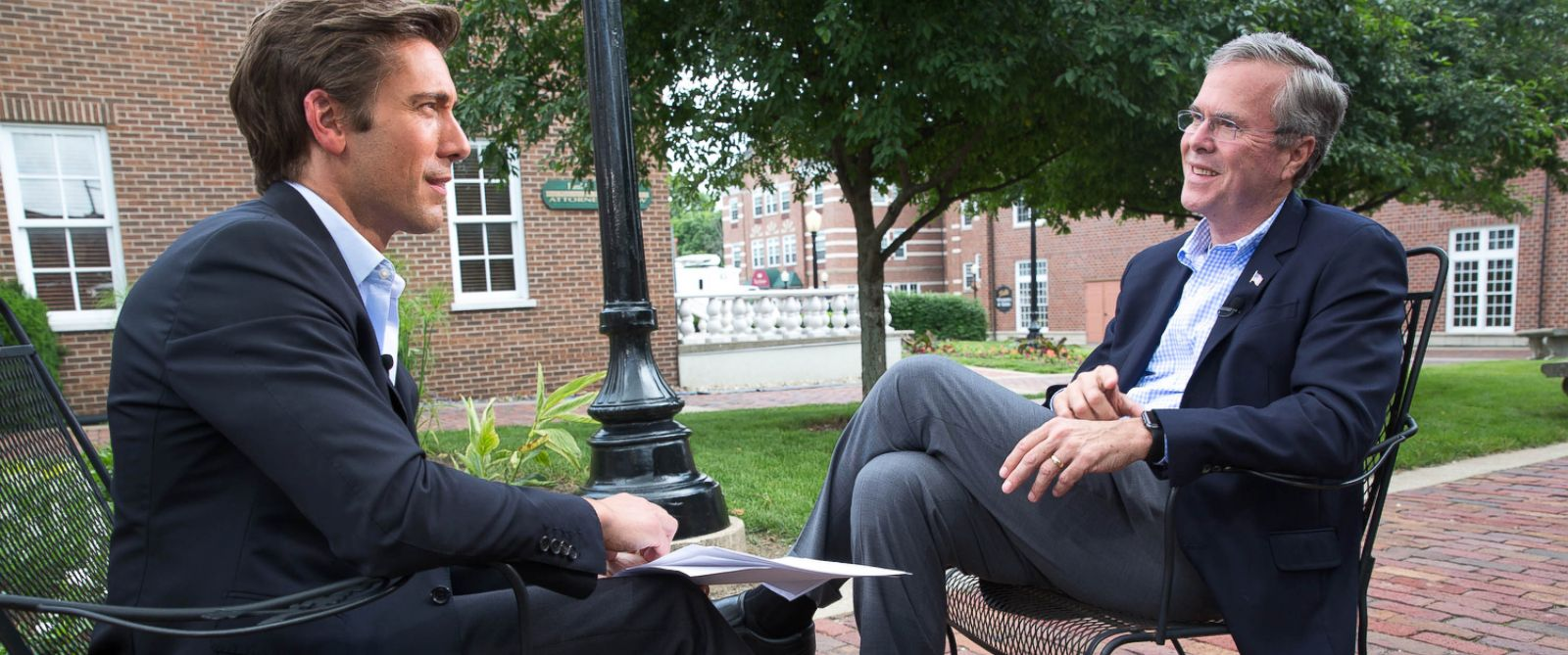 PHOTO: ABCs David Muir speaks with Republican presidential hopeful Jeb Bush, June 17, 2015, before a town hall meeting in Pella, Iowa.