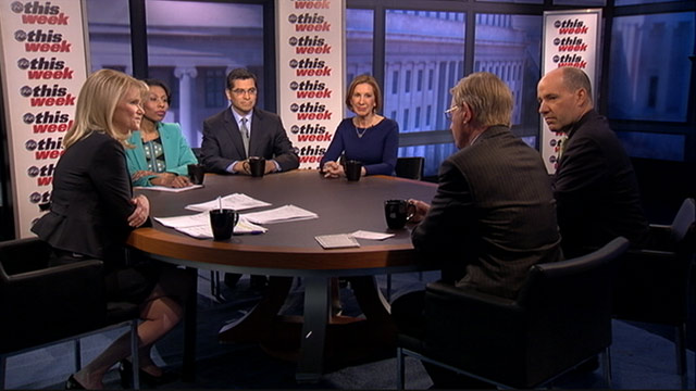 PHOTO: ABC News George Will, ABC News Political Analyst and Special Correspondent Matthew Dowd, Good360 chair Carly Fiorina, House Democratic Caucus Chair Representative Xavier Becerra (D) California, and host of NPRs All Things Considered Audie Cornish