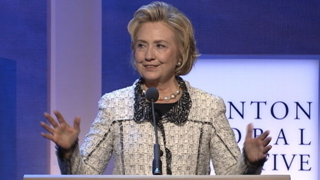 VIDEO: Former Secretary of State discusses blank and blank at her husbands organization.