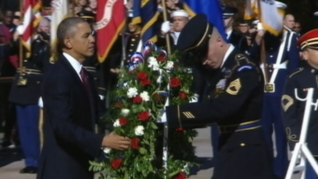 VIDEO: Commander-in-Chief honors U.S. soldiers at the Tomb of the Unknowns.