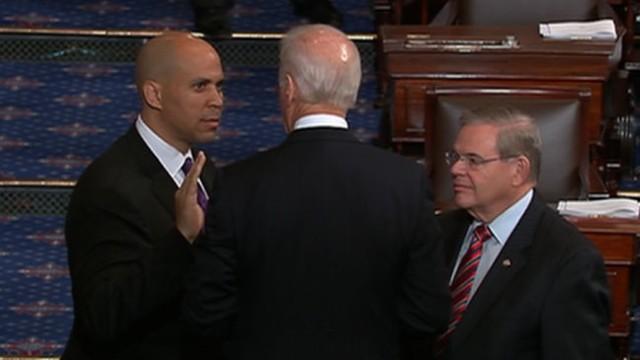 VIDEO: Vice President Joe Biden officiates over the ceremony making the former Newark mayor a senator.