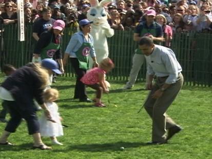 Video of President Barack Obama at White House Easter egg roll.