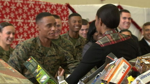 VIDEO: Lance Cpl. Aaron Leeks admires the First Ladys support of the military.