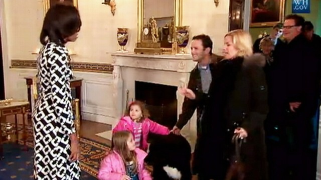 VIDEO: Michelle Obama and the family dog give visitors some face time.