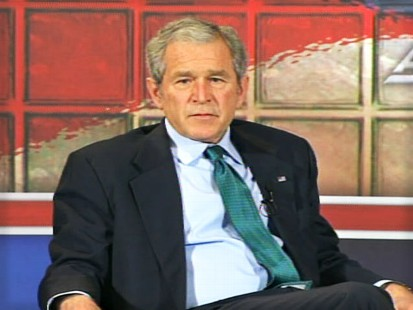 video of George Bush discussing the failing auto industry.