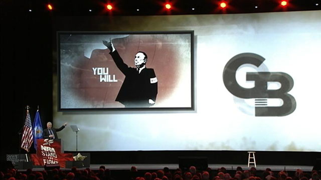 PHOTO: In a keynote address at the NRA annual convention in Houston, Glenn Beck likened New York City Mayor Michael Bloomberg to a Nazi.