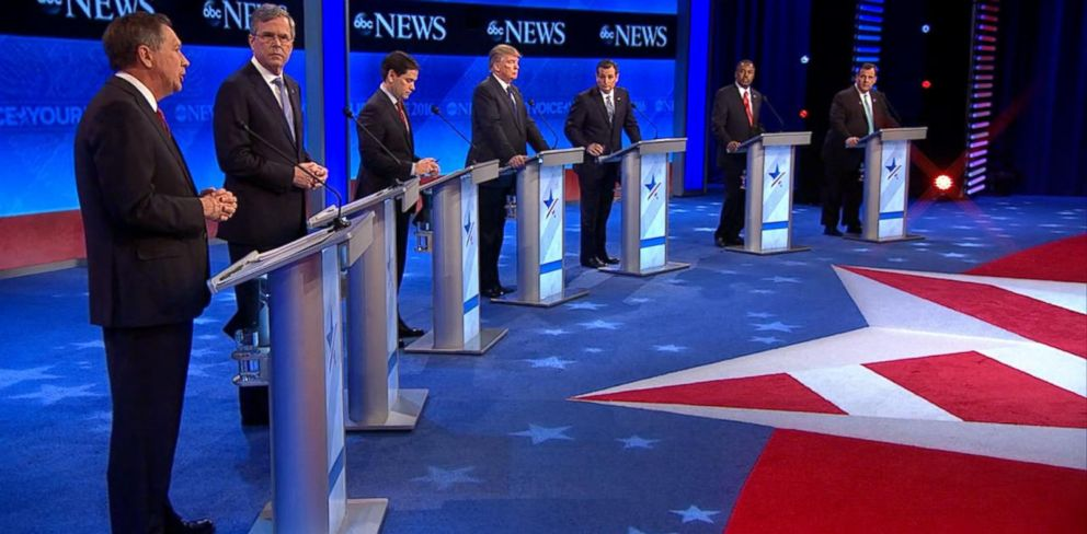 PHOTO: Republican presidential candidates, Gov. John Kasich, Gov. Jeb Bush, Sen. Marco Rubio, Donald Trump, Sen. Ted Cruz, Ben Carson and New Jersey Gov. Chris Christie at the Republican presidential debate on Feb. 6, 2016, in Manchester, N.H.
