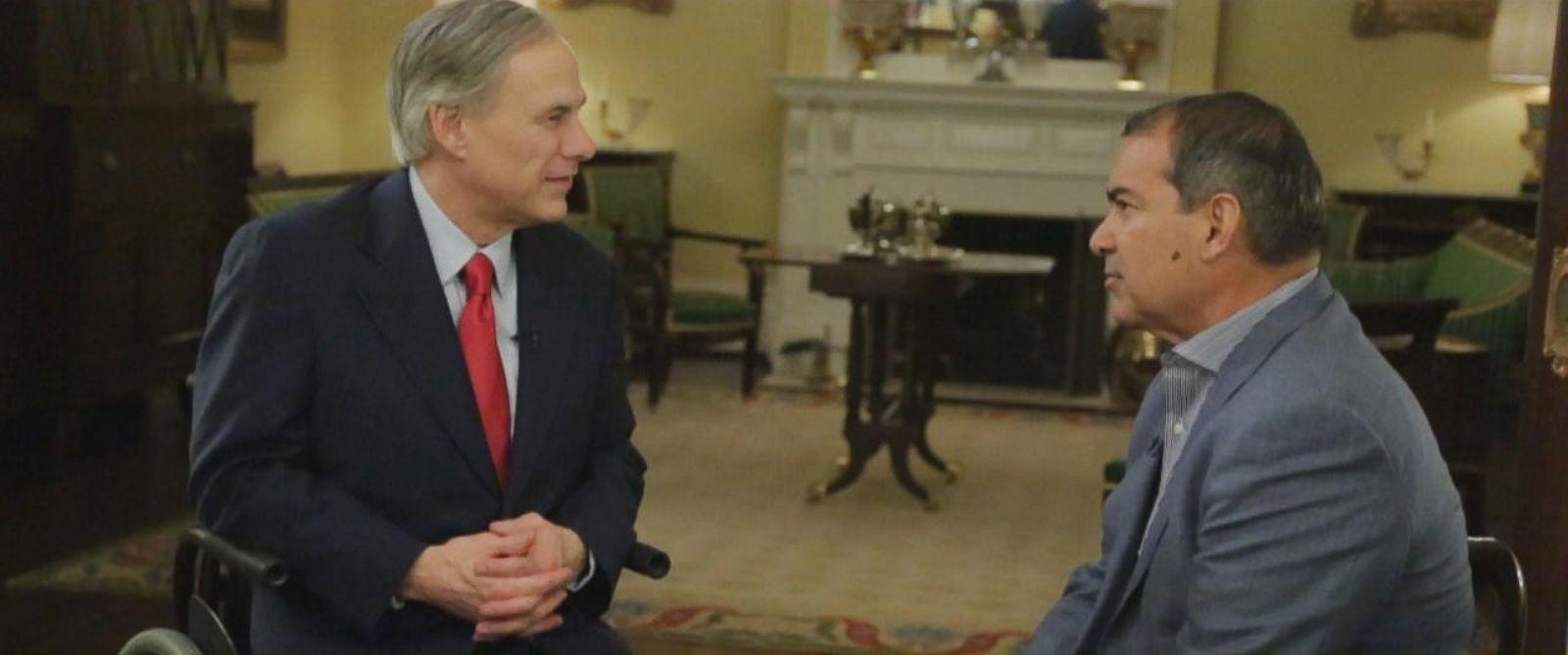 PHOTO: ABC News Jim Avila interviews Texas Gov. Greg Abbott about Obamas executive action on immigration.