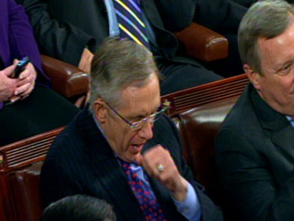 Video of Senator Harry Reid yawning during Obamas State of the Union.
