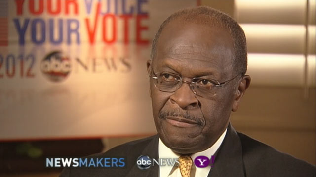 PHOTO: GOP Candidate Herman Cain gives an exclusive interview to ABC News Ron Claiborne, Nov. 8, 2011.