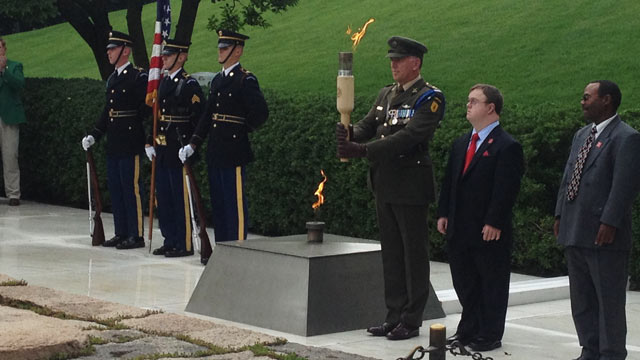 PHOTO: Part of the flame is taken from President John F. Kennedys memorial on June 18, 2013 at Arlington National Cemetery and is being transported to New Ross, County Wexford, Ireland, where it will be placed at a memorial as a celebration of the fiftie