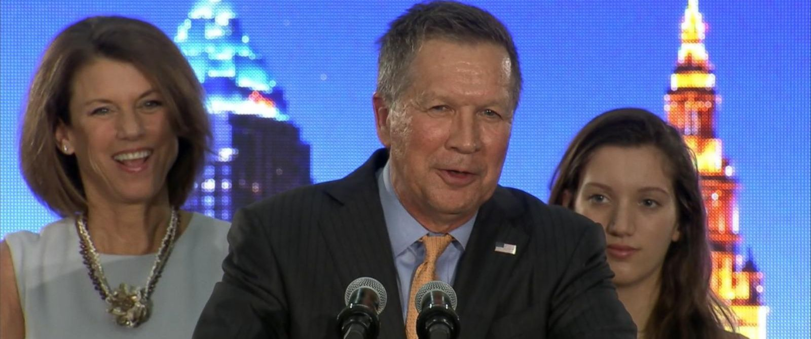 PHOTO: Ohio Gov. John Kasich speaks at his presidential primary election rally in Berea, Ohio, on March 15, 2016.