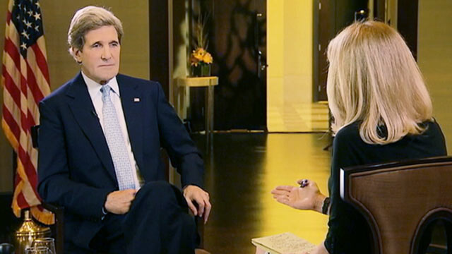 PHOTO: John Kerry spoke to Martha Raddatz on the state of Iranian nuke talks and the Syrian civil war, in Doha, Qatar, March 5, 2013,