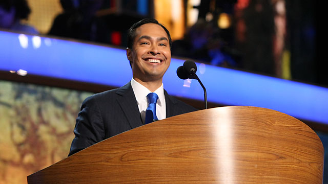 PHOTO:San Antonio Mayor Julian Castro speats at the Democratic National Convention in Charlotte, N.C., Sept. 4, 2012.