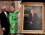 PHOTO: Ed Shafer, the 29th US Secretary of Agriculture, is seen at the unveiling of his official portrait along with two unidentified people in this undated screengrab.