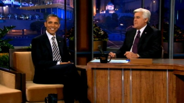 """VIDEO: Obama discusses Gadhafi and jokes the White House will get egged on """"The Tonight Show with Jay Leno."""""""