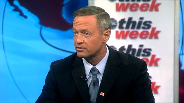 """PHOTO:Maryland Governor Martin OMalley is interviewed on """"This Week."""""""