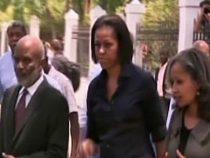 Video of First Lady Michelle Obama in Haiti.