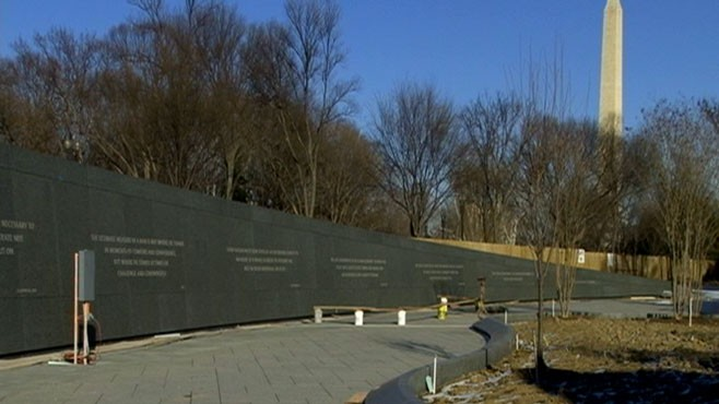 VIDEO: Rev. Martin Luther King Jr. memorial is situated between Lincoln and Jefferson.