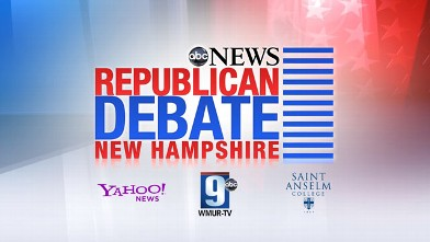 PHOTO: New Hampshire Republican Debate Abcnews.com Logo, Sponsored by, Yahoo!News , ABC9 and Saint Anselm College.