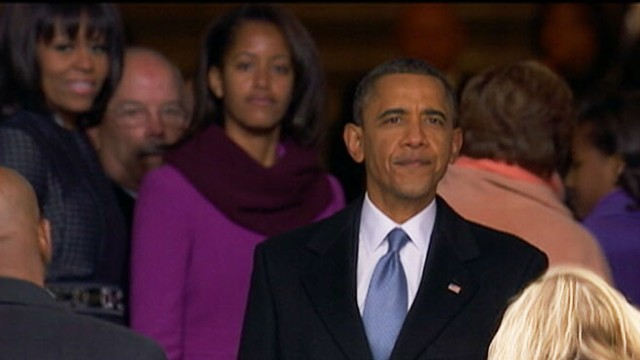VIDEO: President Obama looks at crowd gathered for his second inauguration.