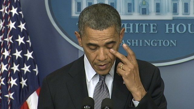 VIDEO: The president fights back tears as he addresses the elementary school tragedy.