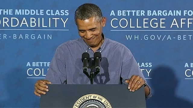 "VIDEO: President Obama calls female heckler ""polite"" during college affordability speech."