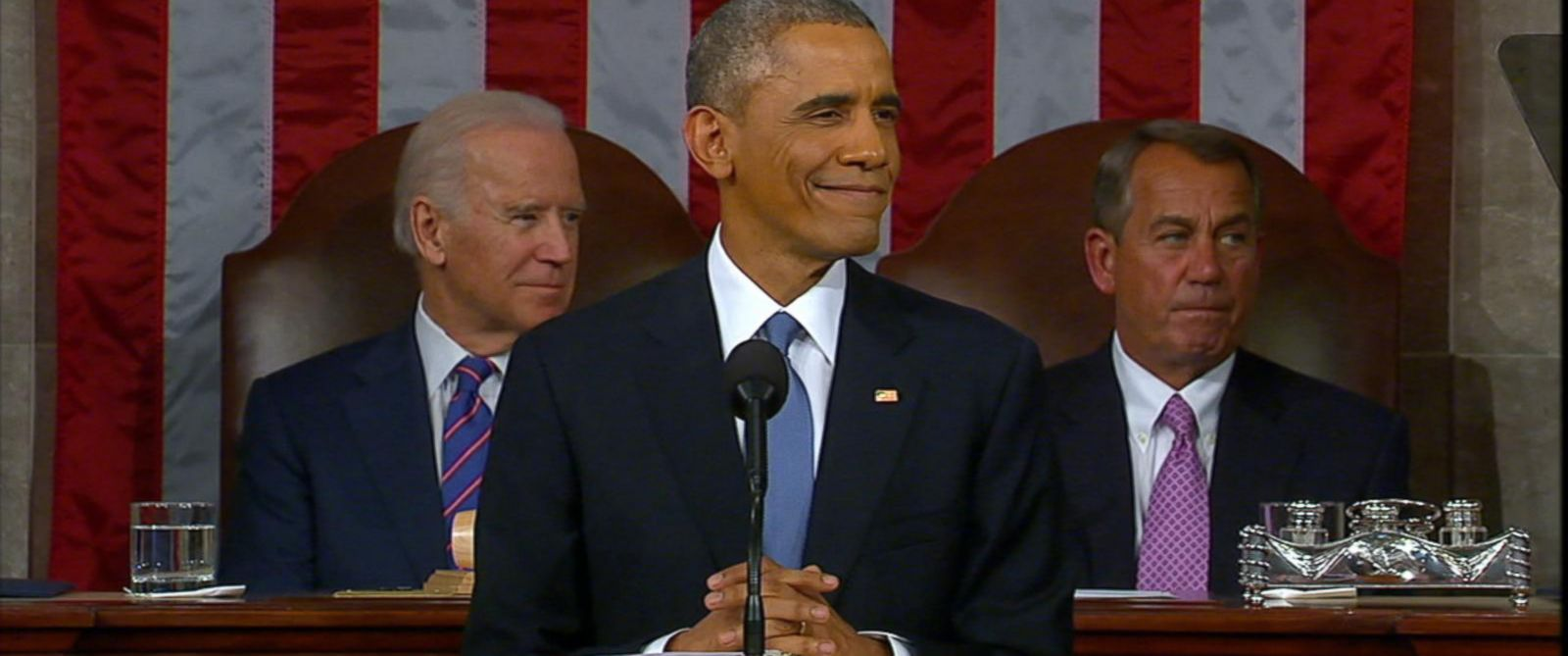 PHOTO: President Obama addresses the House chamber while giving the State of the Union, Jan. 20, 2015 in Washington.