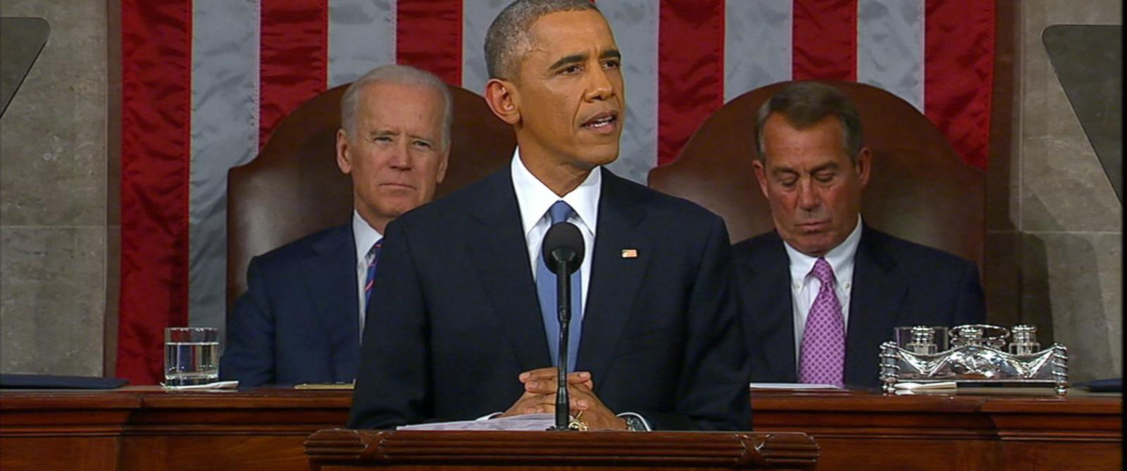PHOTO: President Obama addresses the House Chamber for the State of the Union, Jan. 20, 2015.