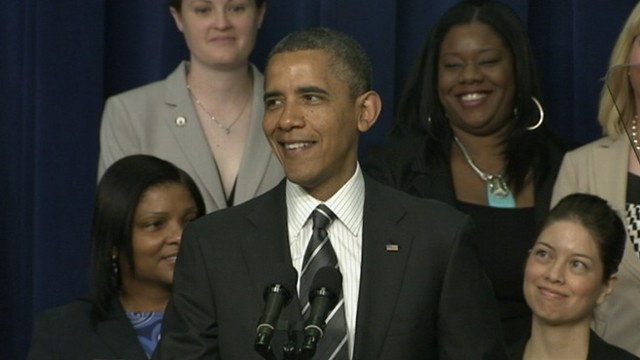 VIDEO: President seeks lighthearted atmosphere at White House economic forum for women.