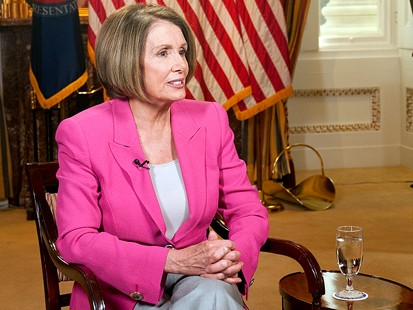 """PHOTO Speaker of the House of Representatives, Nancy Pelosi, talks with ABC News Elizabeth Vargas for an interview airing on """"This Week,"""" Feb. 28, 2010."""