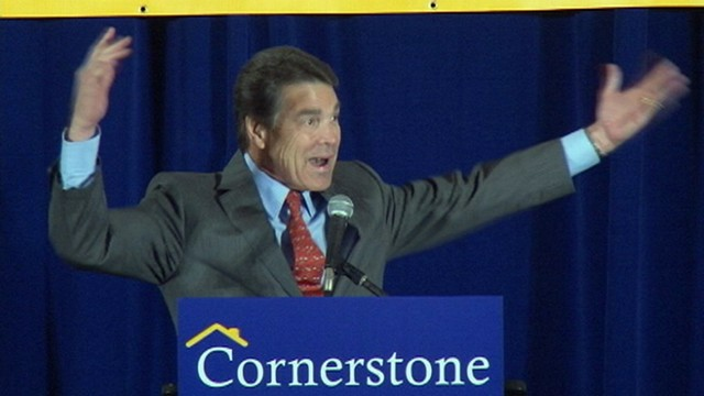 VIDEO: GOP presidential candidate Rick Perry is animated during Cornerstone Action Dinner.