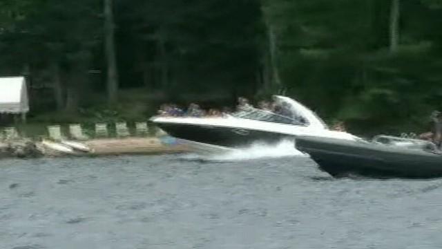 VIDEO: Mitt and Ann Romney Speedboat During Vacation