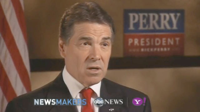 PHOTO: GOP Candidate Rick Perry gives an exclusive interview to ABC News Christiane Amanpour, Nov. 8, 2011.