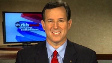 """PHOTO:Republican Presidential Candidate Rick Santorum on """"This Week"""""""