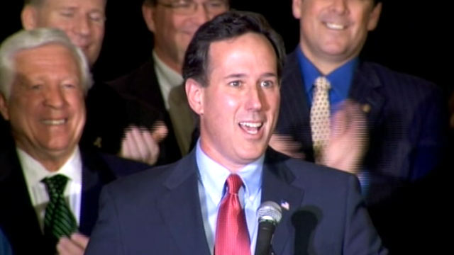 PHOTO: Republican candidate Rick Santorum speaks after winning the Minnesota and Missouri primary, Feb. 7, 2012.