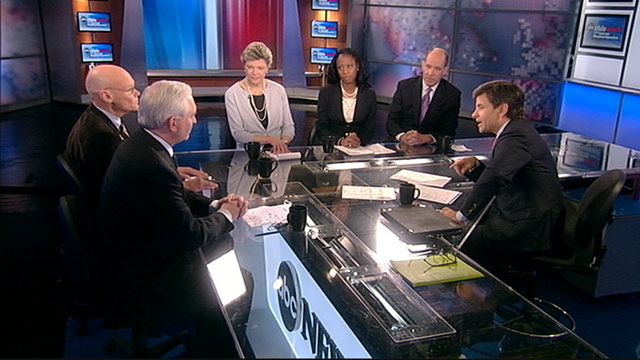 PHOTO: ABC News Special Correspondent and Political Analyst Matthew Dowd, ABC News Cokie Roberts, Democratic Strategist James Carville, Wall Street Journal Editorial Page Editor Paul Gigot, and Mayor Mia Love, (R) Saratoga Springs, Utah, on This Week