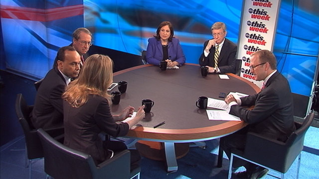PHOTO: Representative Bob Goodlatte (R) Virginia, Representative Luis Gutierrez (D) Illinois, Washington Post Columnist Ruth Marcus, Wall Street Journal Columnist Kimberley Strassel and ABC News George Will on This Week