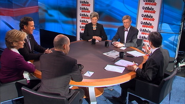 "PHOTO: ABC News George Will, ABC News Cokie Roberts, ABC News Political Analyst and Political Strategist Matthew Dowd, Current TVs ""The War Room"" Host and (D) Former Michigan Governor Jennifer Granholm, (R) Former Pennsylvania Senator, 2012 Republican"
