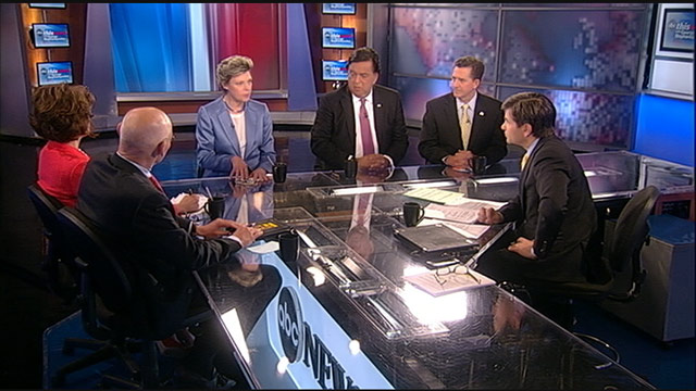 PHOTO: Democratic Strategist James Carville, Republican Strategist Mary Matalin, Former South Carolina Senator (R) Jim Demint, Former New Mexico Governor (D) Bill Richardson, and ABC News Cokie Roberts on This Week