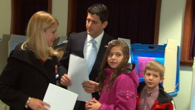 VIDEO: Vice-presidential candidate casts his ballot with his children by his side in Wisconsin.