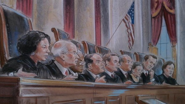 VIDEO: Justices consider the merits of a federal law defining marriage as between one man and one woman.