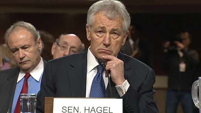 PHOTO: Chuck Hagel faces the Senate Committee in a confirmation hearing, Jan. 31, 2013, in Washington DC.