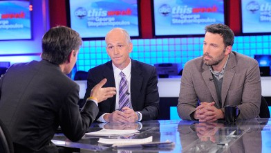 PHOTO: ABC's George Stephanopoulos interviews actor and director Ben Affleck, founder of the Eastern Congo Initiative, and Rep. Adam Smith, during a live broadcast of 'This Week with George Stephanopoulos' on Nov. 25, 2012.